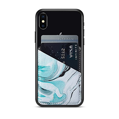 (Three) Stretchy Marble Cell Phone Stick On Wallet Card Holder Phone Pocket iPhone, Android All Smartphones (Marble Pattern) by Heast (Image #1)