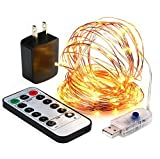 innotree LED String Lights, 33ft 100 LED USB Plug in Fairy String Lights, 8 Modes Copper Wire Lights with Remote, Timer & UL Adapter, Dimmable Decoration Lights for Bedroom, Patio, Party - Warm White