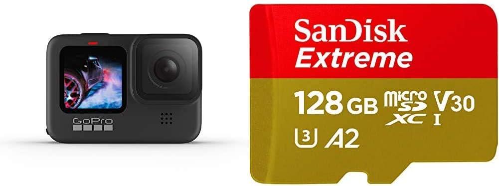 GoPro HERO9 Black - Cámara de acción + SanDisk Extreme - Tarjeta de Memoria microSDXC de 128GB con Adaptador SD
