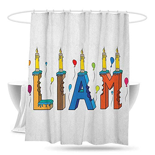 huimaoxiangbaowangdian Custom Shower Curtain Liam English First Name in a Colorful Letter Style Cake Design with Bite Marks and Candles Fashionable Pattern W70×L70 Multicolor