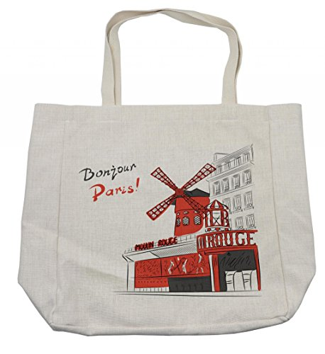 Ambesonne Paris Shopping Bag, Sketch Art of Urban Landscape with Cabaret Moulin Rouge in Paris Modern City, Eco-Friendly Reusable Bag for Groceries Beach Travel School & More, (Moulin Rouge Costume Images)