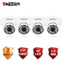 TMEZON 4 Pack HD-CVI 1/2.9 1080P CCTV Security Outdoor/indoor Camera over Analog Cable - 2.0MP High Definition 48 Infrared LEDs with IR Cut 3.6mm Wide Angle Lens Must be Used with HD CVI DVR