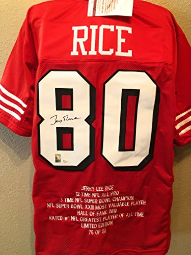 Jerry Rice San Fransico 49ers Signed Autograph Custom Shadow Jersey JSA Witnessed - Jersey Jerry Signed Rice