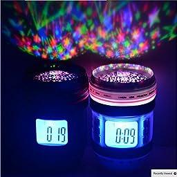 Z&S Camera Lens Music Starry Projection Alarm Clock Star Sky Calendar Thermometer Digital LED Backlight Multi-Function Music Clock