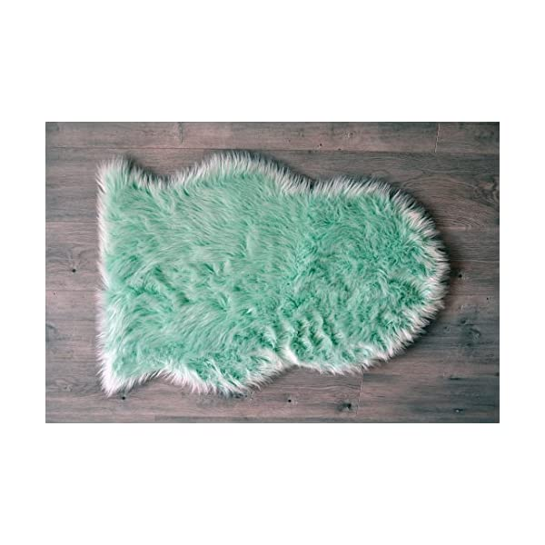 Machine Washable Faux Sheepskin Mint Rug 2′ x 3′ – Soft and silky – Perfect for baby's room, nursery, playroom (Pelt Small Mint)