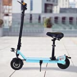 Ancheer E100 Electric Scooters for Adults with Seat and Dual Suspension, Folding E-Scooter for Boys/Girls with Key Start, LED Dispaly, Headlight and 3-hour Fast Charge Battery ,Age 12+(Sky Blue)