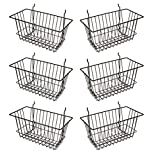 Econoco - Black Multi-Fit Narrow Wire Basket for Slatwall, Pegboard or Gridwall (Set of 6) Metal Semi-Gloss Basket, Black: more info