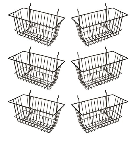 Econoco - Black Multi-Fit Narrow Wire Basket for Slatwall, Pegboard or Gridwall (Set of 6) Metal Semi-Gloss Basket, Black
