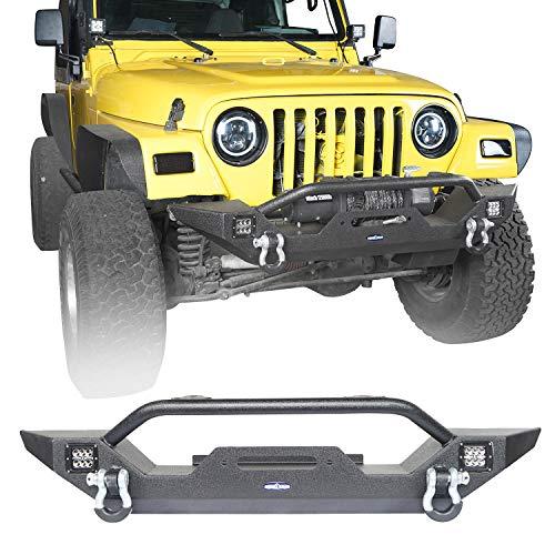 (Hooke Road Offroad Steel Front Bumper w/Winch Plate & LED Lights for 1997-2006 Jeep Wrangler TJ)