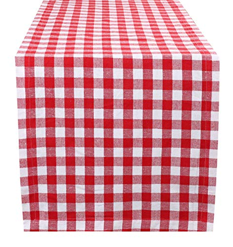 Cotton Gingham Check Plaid Table Runner for Family Dinners or Gatherings, Indoor or Outdoor Parties, Everyday Use, Wedding Table Runner- 16x72 inches, Red White Checks, Set of - Gingham Pink Green Toile