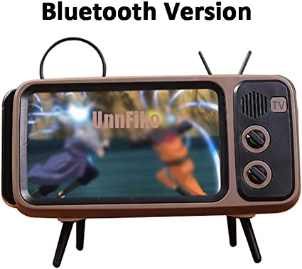 Cartoon Desktop Bracket Desk Mount Universal for Samsung iPhone X 6 6s 7 8 Plus XR Xs 11 Pro Max UnnFiko Wireless Bluetooth Speakers/ Retro TV Style Stand Holder TV Brown Bluetooth