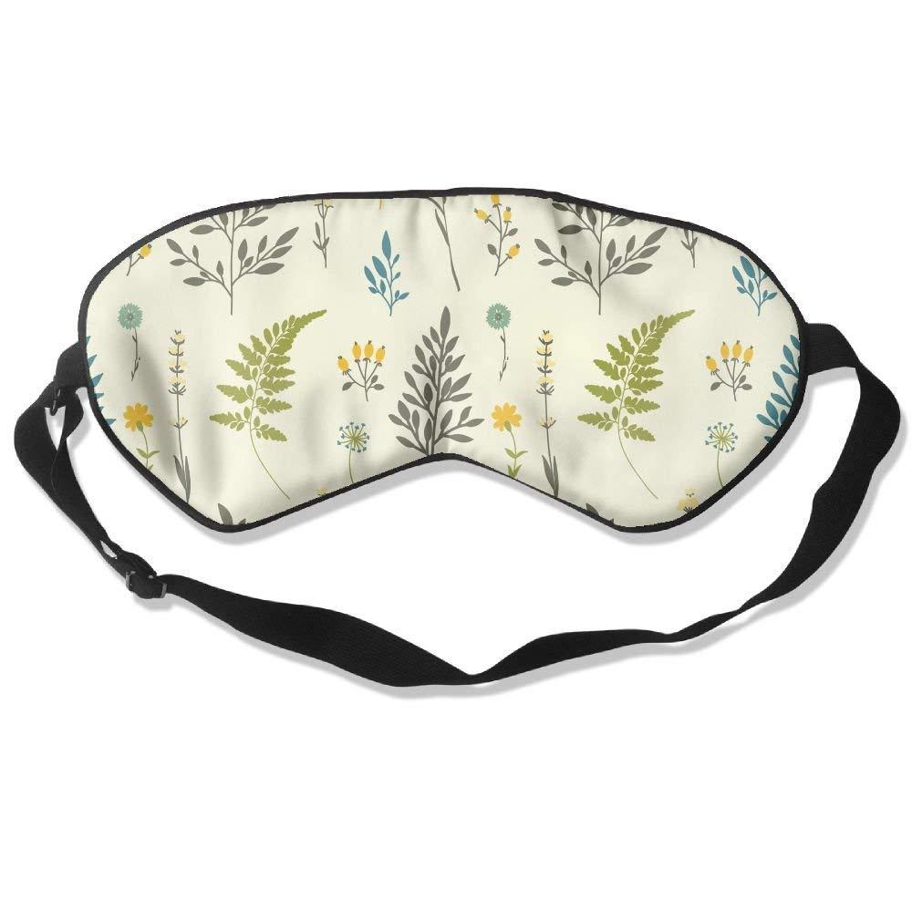 100% Silk Sleep Mask for A Full Night's Sleep Super Soft Eye Mask with Adjustable Strap (Green Yellow Plants)