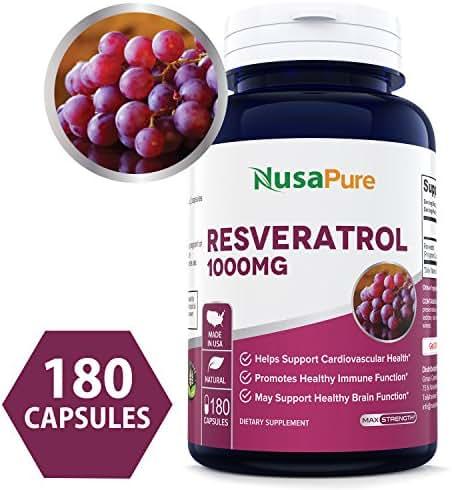Resveratrol 1000mg 180caps (Non-GMO & Gluten Free) Promotes Heart Health and Balances Blood Pressure, Helps Balance Hormones