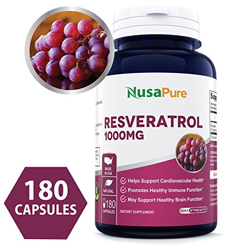 (Resveratrol 1000mg 180caps (Non-GMO & Gluten Free) Promotes Heart Health and Balances Blood Pressure, Helps Balance Hormones - Proudly Made in USA - 100% Money Back Guarantee! )