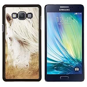 Qstar Arte & diseño plástico duro Fundas Cover Cubre Hard Case Cover para Samsung Galaxy A7 A7000 (Albino caballo blanco del semental)
