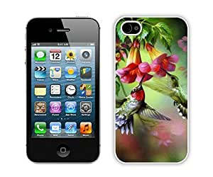 Hummingbird Painting White Case Cover for iPhone 4 4S Grace and Cool Design