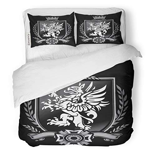 Tarolo Bedding Duvet Cover Set Family Griffin Crest Eagle Lion Seal Shield Crown 3 Piece Queen 90