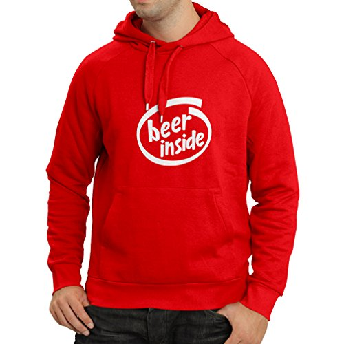 lepni.me Hoodie Beer Inside - For Beer Lovers Funny Logo, Humorous Gift, Pub, Bar, Party Clothing (Medium Red White)