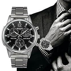 Watch,Han Shi Man Fashion Business Crystal Stainless Steel Analog Quartz Wrist Watch Clock (A, Black)