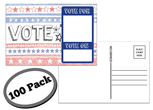 Striking Design (100 Pack of Blank Postcards. Each card in this patriotic, bulk set is size 4 x 6 and USPS compliant (mailable). Great to get votes or to protest. Flip side is white, plain and unused. (vote_sketch))