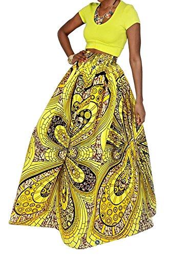 Tubute Womens African Floral Skirts High Waist A Line Long Maxi Dress With Pockets (Skirt Blazer)
