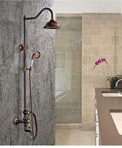 The Brown red Copper Inlaid with Classic European Style Shower-Bath Rooms in The Wall Round top Shower Spray Hand Shower Set Stop