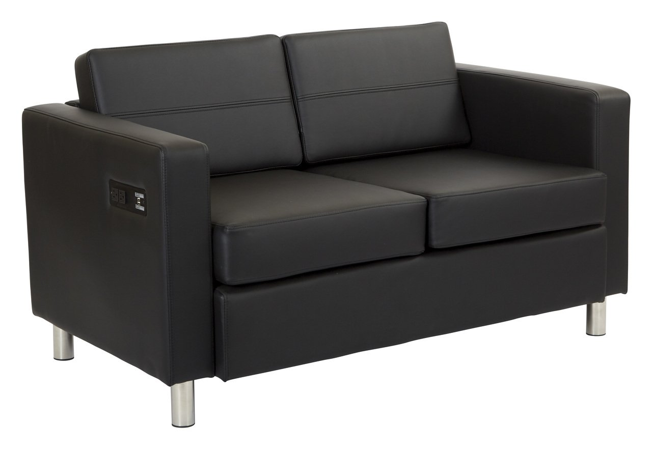 Work Smart Atlantic Loveseat, Black