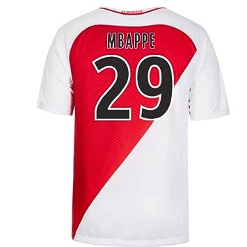139eb37fedb Nike 2016-17 Monaco Home Football Soccer T-Shirt (Kylian Mbappe 29 ...