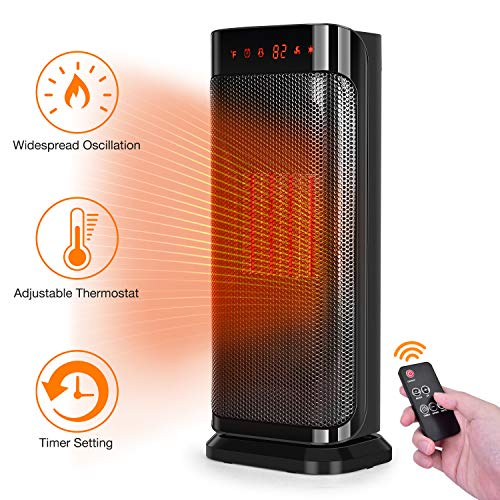 Trustech Electric Space Heater, 750W 1500W Fast Heating Portable Oscillating Ceramic Tower Heater for Office Home Use, with Remote Control, Auto Shut, Vertical, Black