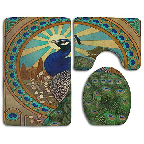 - CCBUTBA Bathroom Rug Mats Set 3 Piece Art Nouveau Peacock Extra Soft Bath Rugs (20