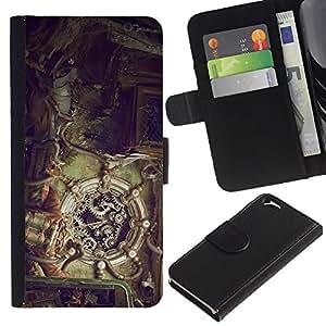 KLONGSHOP // Tirón de la caja Cartera de cuero con ranuras para tarjetas - Mecánica Steampunk - Apple Iphone 6 //