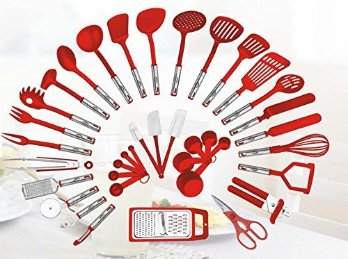 38-piece Kitchen Utensils Set Home Cooking Tools Gadgets Turners Tongs Spatulas Pizza Cutter Whisk Bottle Opener, Graters Peeler, Can Opener, Measuring Cups Spoons (Red)