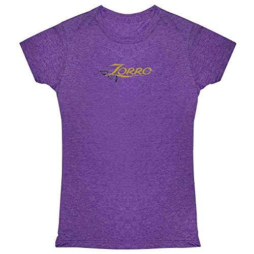 Pop Threads Zorro Sword Logo Halloween Costume Heather Purple 2XL Womens Tee Shirt