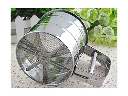 Stainless Steel Flour Sifter with Triple Mesh Screen Manual Powder Strainer By PetsMostHome