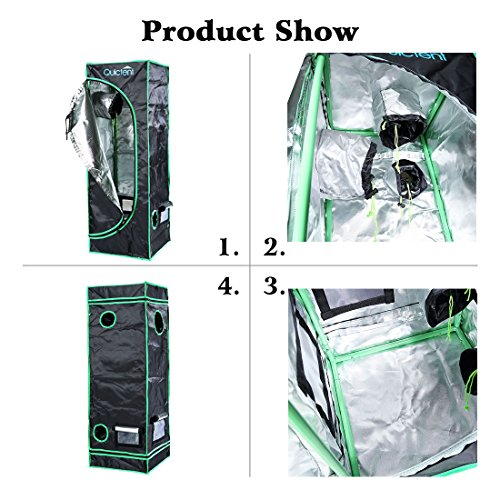 """51tRARr7QHL - Quictent SGS Approved Eco-friendly 16""""x16""""x48"""" Reflective Mylar Hydroponic Grow Tent with Heavy Duty Anti-burst Zipper and waterproof Floor Tray for Indoor Plant Growing"""