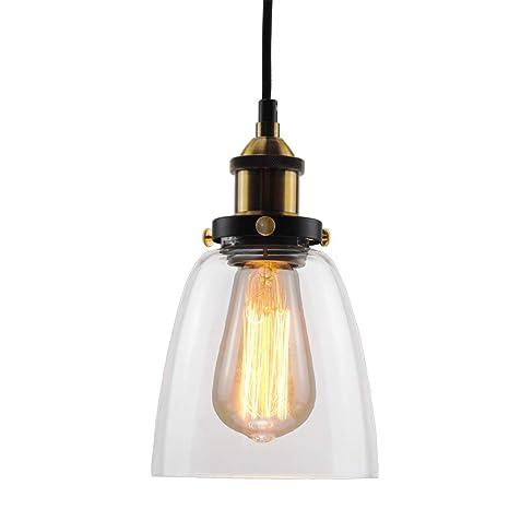 Lámpara colgante de vidrio, Lantu Creative Vintage Industrial Acabado de metal Claro de vidrio Sombra Loft Lámpara colgante Lámpara de techo retro ...