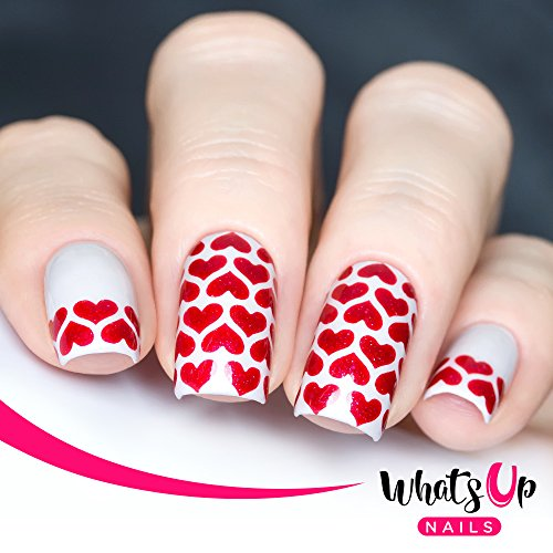 Whats Up Nails - Heart Lines Vinyl Stencils for Nail Art Design (2 Sheets, 24 Stencils Total)