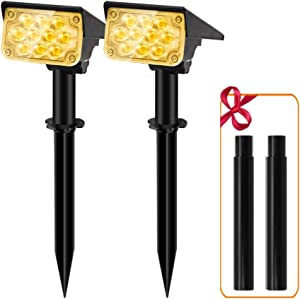 APONUO Solar Spot Lights Outdoor,Solar Powered Landscape Lights 20 LEDs Wireless Decor Solar Spotlight with Extension Stake 3000K Wall Lights for Statue Porches Garden Lawn (Warm White)