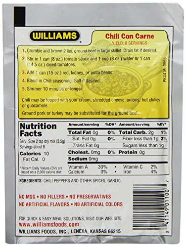 Williams Chili Seasoning Mix, 1-Ounce Packets (Pack of 24) by Williams (Image #2)