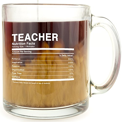 Teacher Nutrition Facts - Glass Coffee Mug