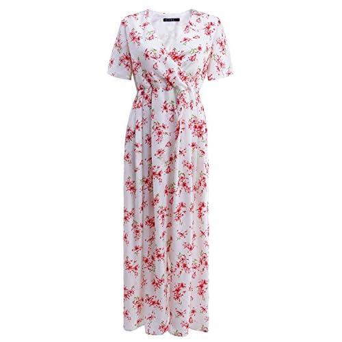 OUGES Women's Casual V-Neck Split Chiffon Maxi Dress on sale