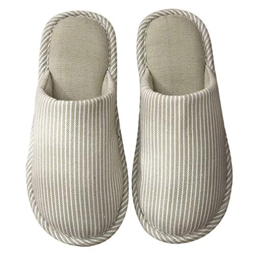Cotton Memory Foam Lined Slippers Womens Indoor Close Toe Simple Slip on Shoes Green ()