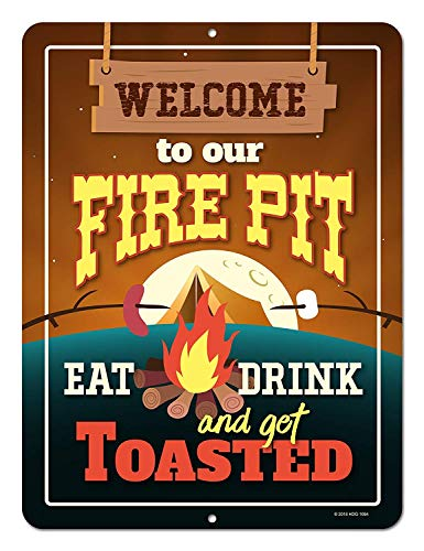 Nawilbi Honey Dew Gifts Funny Camping Signs, Welcome to Our Fire Pit Eat Drink and Get Toasted Novelty Tin Camper Decor(12X8, Camping)