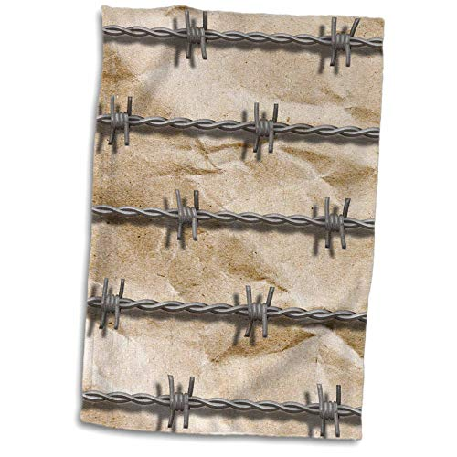 3dRose Made in The Highlands - Art- Barbed Wire - Barbed Wire on Crumpled Paper Print - 15x22 Hand Towel (TWL_304455_1)