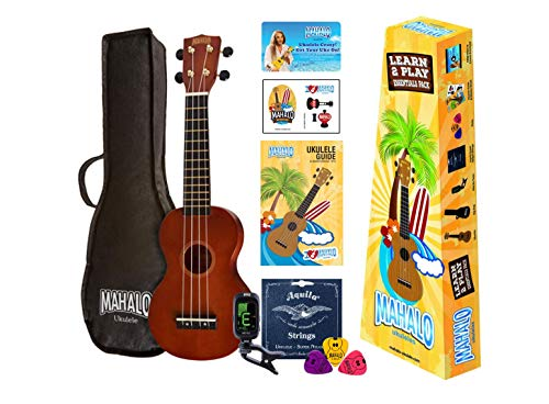 Mahalo Ukuleles Rainbow Series 4-String Ukulele Right, Brown Soprano MR1TBRK