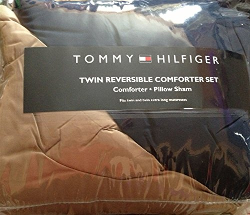 (Tommy Hilfiger Reversible Comforter Set Fits Twin & Twin XL Marresses - Tan & Navy Blue)