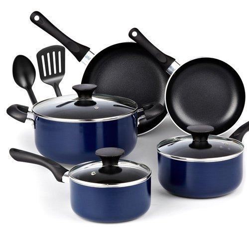 Cook N Home 10 Piece Non stick Black Soft Handle Cookware Se