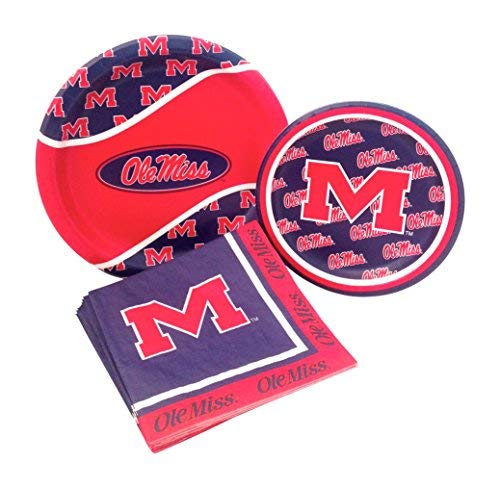 University of Mississippi Rebels Party Supply Pack! Bundle Includes Paper Plates & Napkins for 8 Guests -