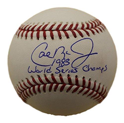 Cal Ripken Jr Signed Balt Orioles OML Baseball 83 World Series Champs JSA