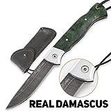 Folding Knife Special Edition – Pocket Knife Wolf – Real Damascus Steel – Karelian Birch Handle – Durable Leather Sheath